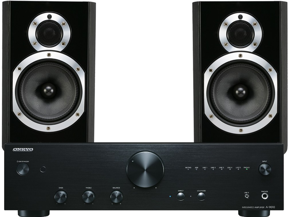 onkyo a 9010 silver. wharfedale 10.1 black speakers + onkyo a-9010 amplifier package a 9010 silver