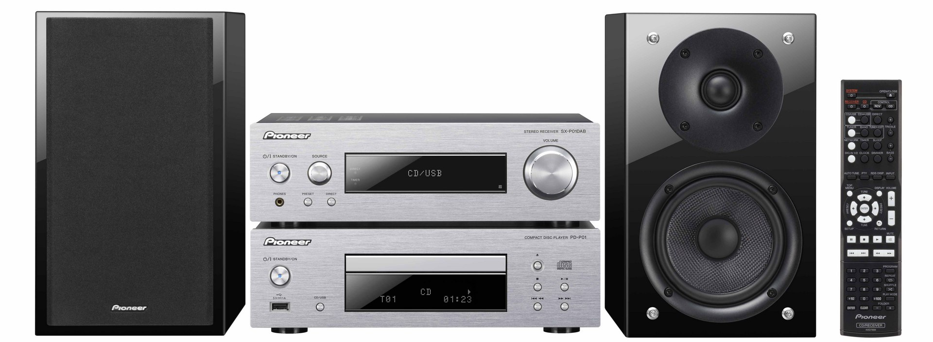 pioneer p1dab silver cd player hifi dab radio system ipod. Black Bedroom Furniture Sets. Home Design Ideas