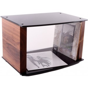 Custom Design Milan Vinyl Storage Stand Walnut and Black Glass