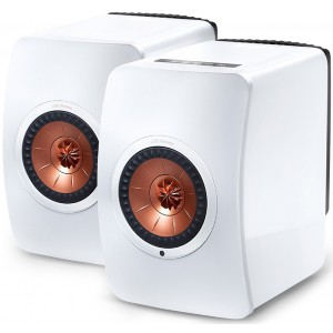 KEF LS50 Wireless Speakers (Pair) - Gloss White/Copper