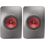 KEF LS50 Wireless Speakers (Pair) - Titanium Grey/Red