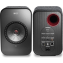 KEF LSX Wireless Speakers Black Front and Rear Connections